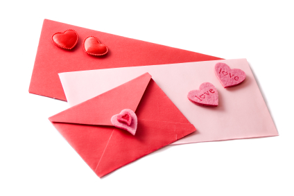 Three envelopes decorated with hearts