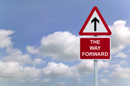 The Way forward signpost in the sky