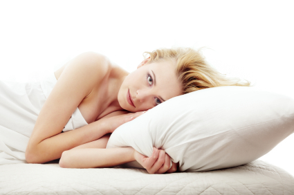 Woman and pillow
